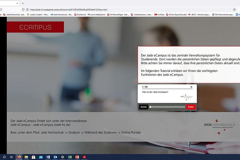 International Office produziert Tutorials zu den Service-Portalen der Jade HS