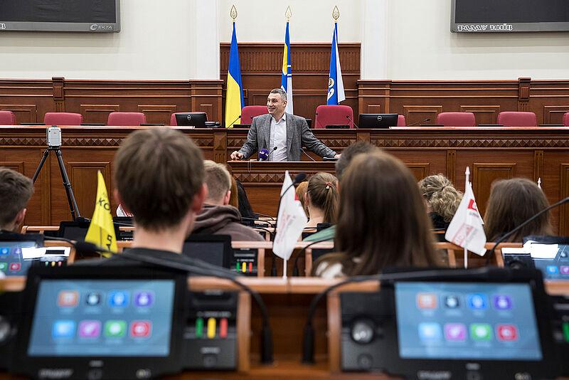 Geodäsie-Studierende treffen Vitali Klitschko in Kiew
